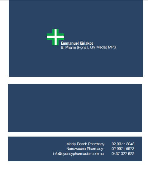 Contest Entry #114 for Business Card Design for retail pharmacist based in Sydney, Australia