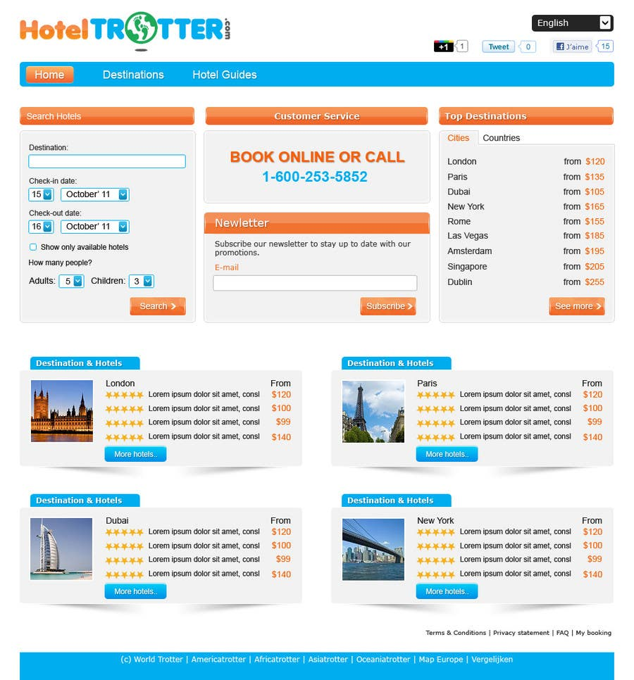 Contest Entry #8 for Website Design for Hoteltrotter