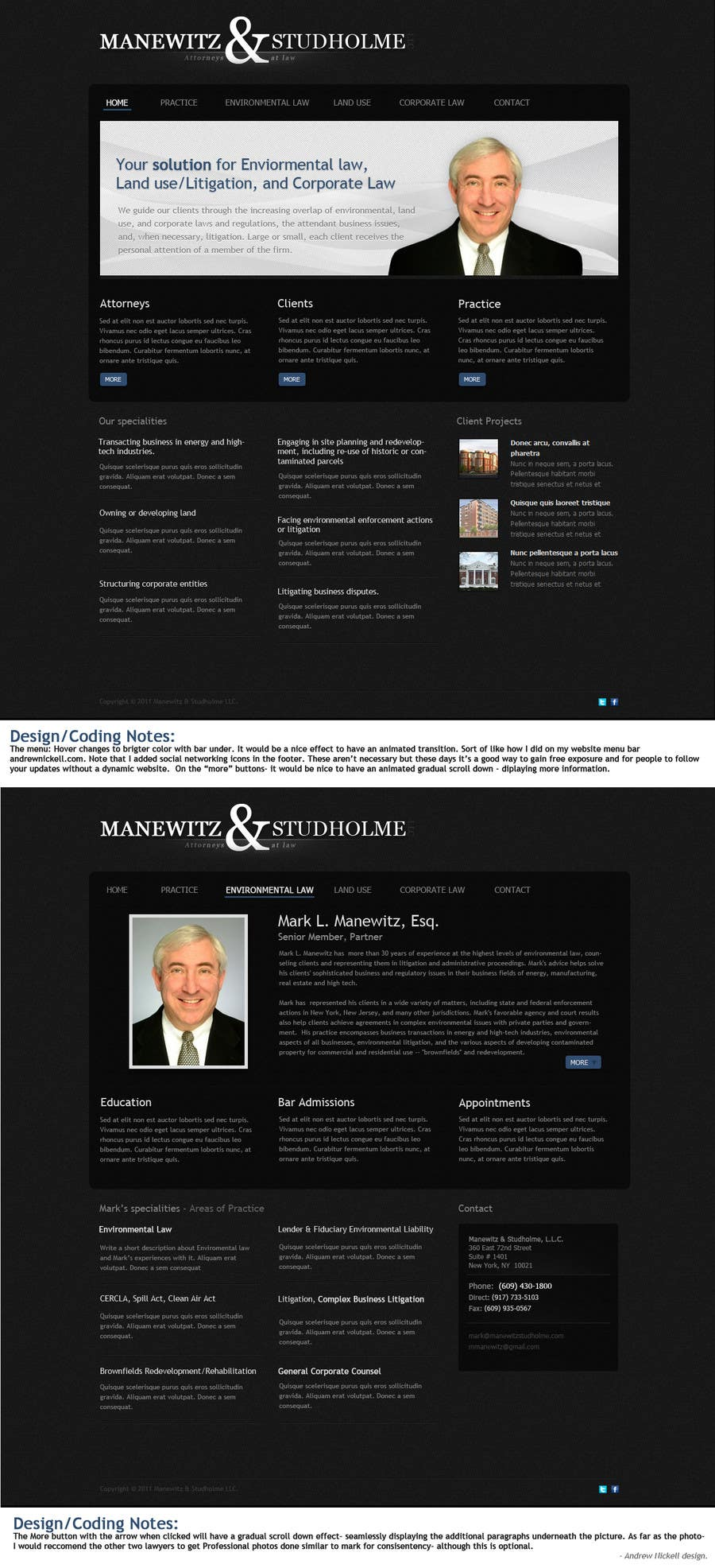 #61 for Website Design for Manewitz & Studholme LLC by andrewnickell