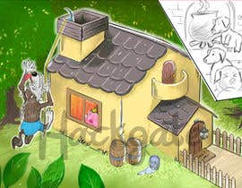 "Nro 3 kilpailuun Illustration for one page from the famous story ""Three little pigs"" käyttäjältä HackGate"
