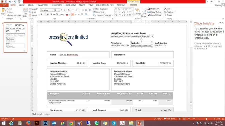 Bài tham dự cuộc thi #3 cho Design an invoice