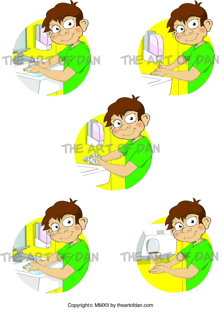 Bài tham dự cuộc thi #                                        18                                      cho                                         5 drawings for a strip depicting the washing of hands for children