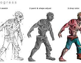 #9 for Illustrate 3 zombies / walking dead. 1 character male or female and 1 weapon af satherghoees1