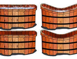 #5 cho Illustrate a Wooden Half-Tub, with Water & Bubbles bởi OlgaShevchenko