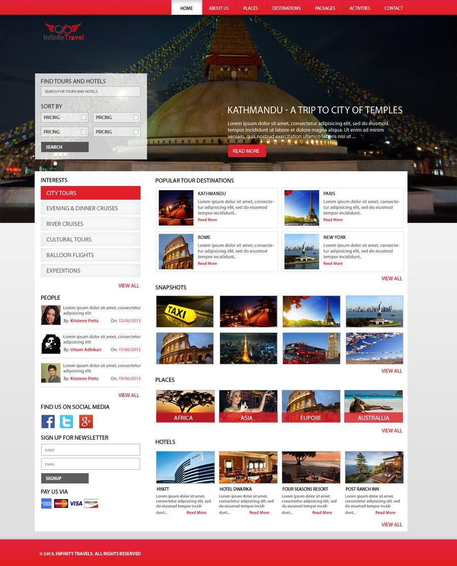#15 for Design a Website Mockup for Tourist Agency by uttamcafedeweb