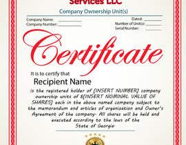 #36 untuk Design Company Ownership Certificate (Like a Corporate Shareholder Certificate) oleh Bulfire