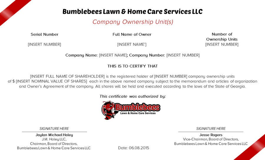 Ownership Certificate Template