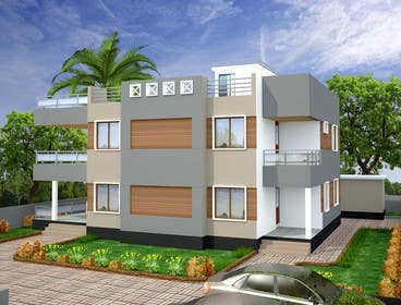 Redesign my house and render with a modern flat roof with parapet wall freelancer Redesign my house