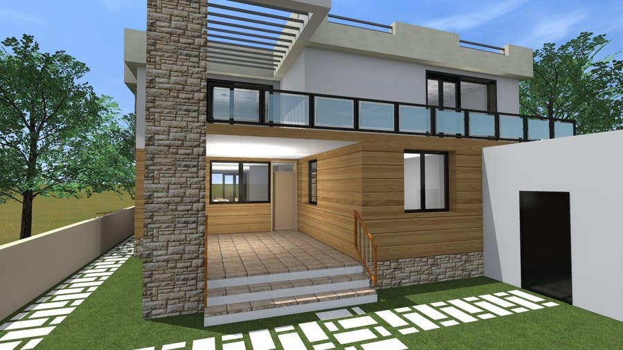 Redesign my house and render with a modern flat roof with for Flat roof elevation