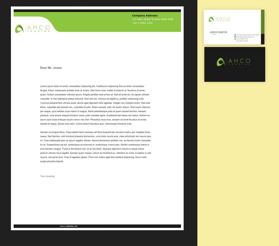 Proposition n°20 du concours Ahco Trading - Business Card & Letterhead Template