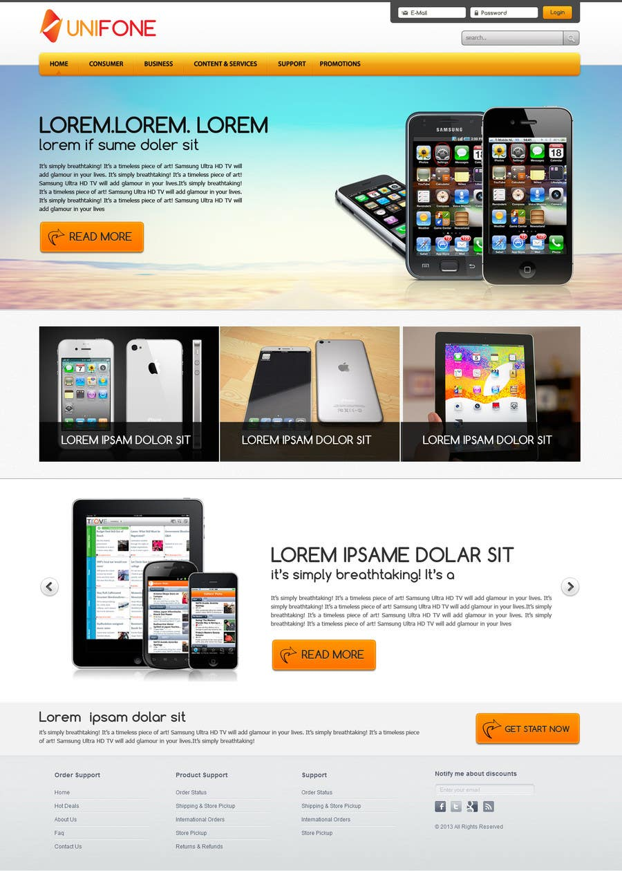 #92 for Design a strongly branded Mobile Phone Content Website by designgallery87
