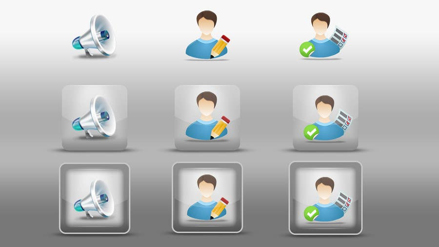 #35 for Redesign three web application GUI icons by dinhnp