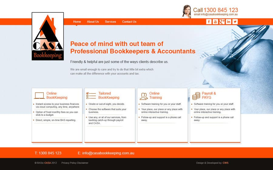 Bài tham dự cuộc thi #                                        5                                      cho                                         Design a Website Mockup for Bookkeeping company