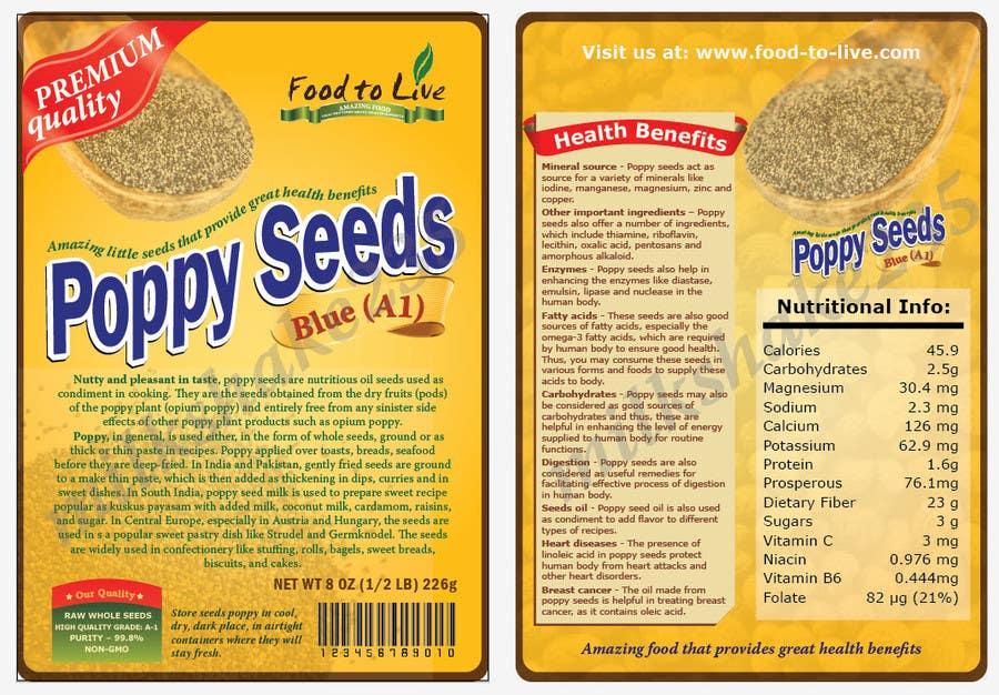 #8 for Create Print and Packaging Designs for a Pack of Poppy Seeds by milkshake235