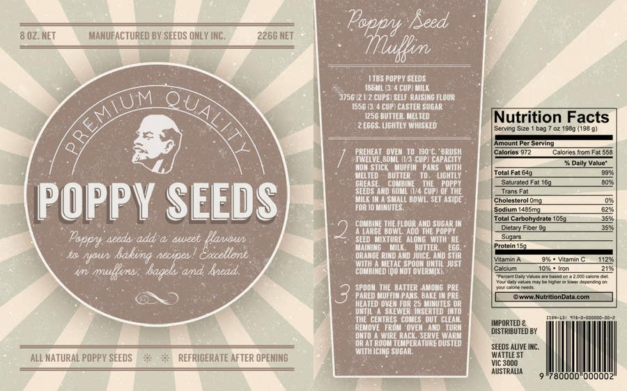 #6 for Create Print and Packaging Designs for a Pack of Poppy Seeds by notreallysarah