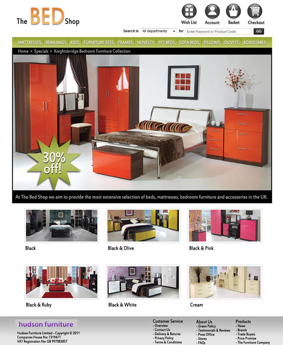 Конкурсная заявка №58 для Website Design for The Bed Shop (Online Furniture Retailer)