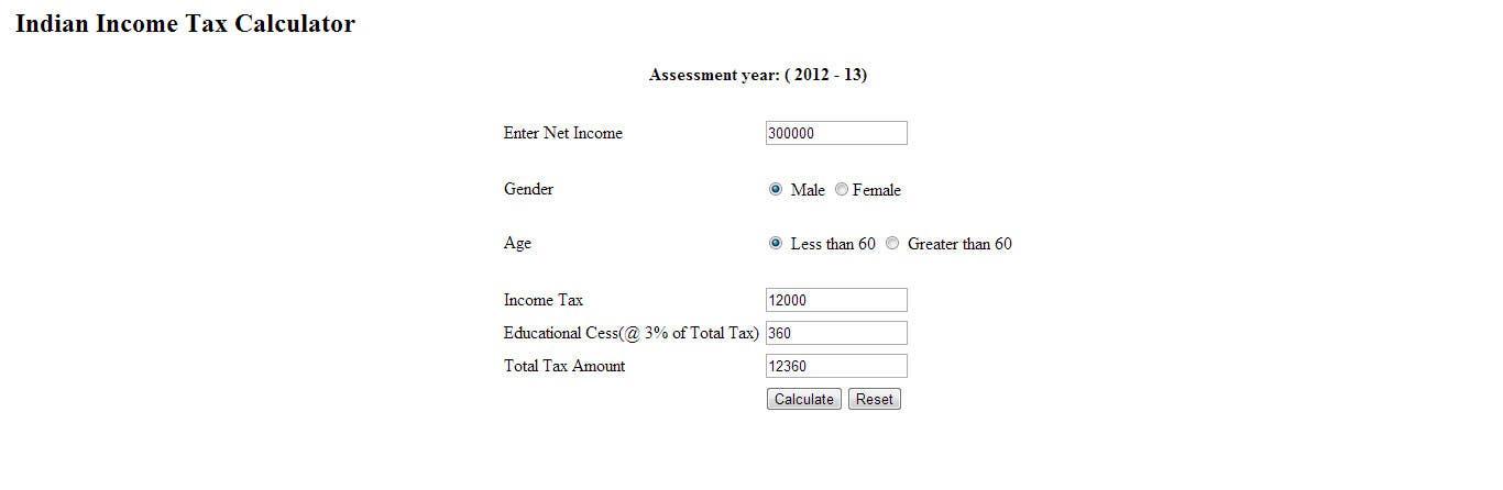create a wordpress template for income tax calculator