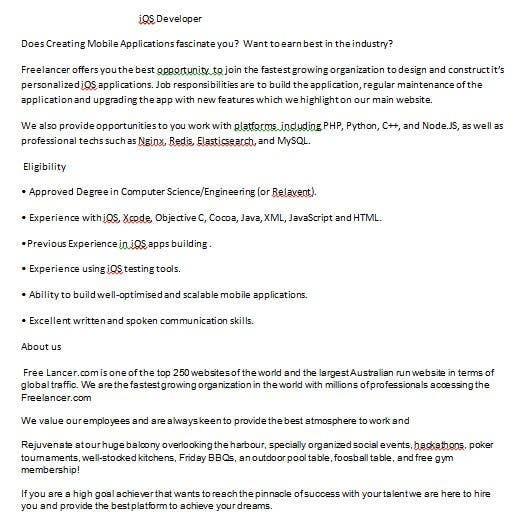 Proposition n°17 du concours Write a job ad for me