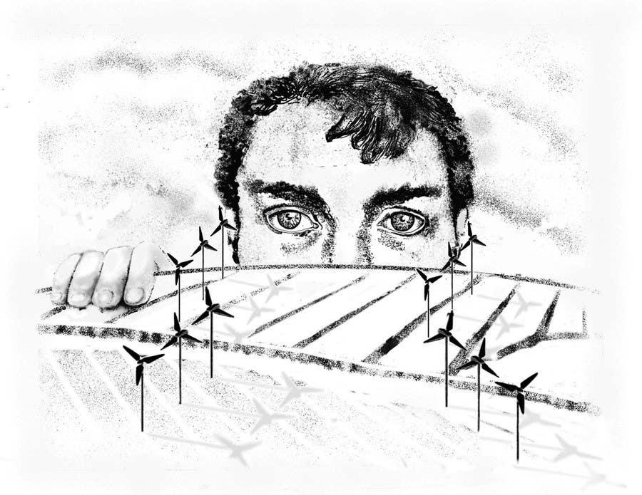 Penyertaan Peraduan #88 untuk Illustrate a giant peaking over a hill