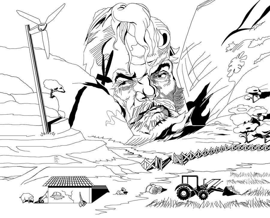 Penyertaan Peraduan #92 untuk Illustrate a giant peaking over a hill