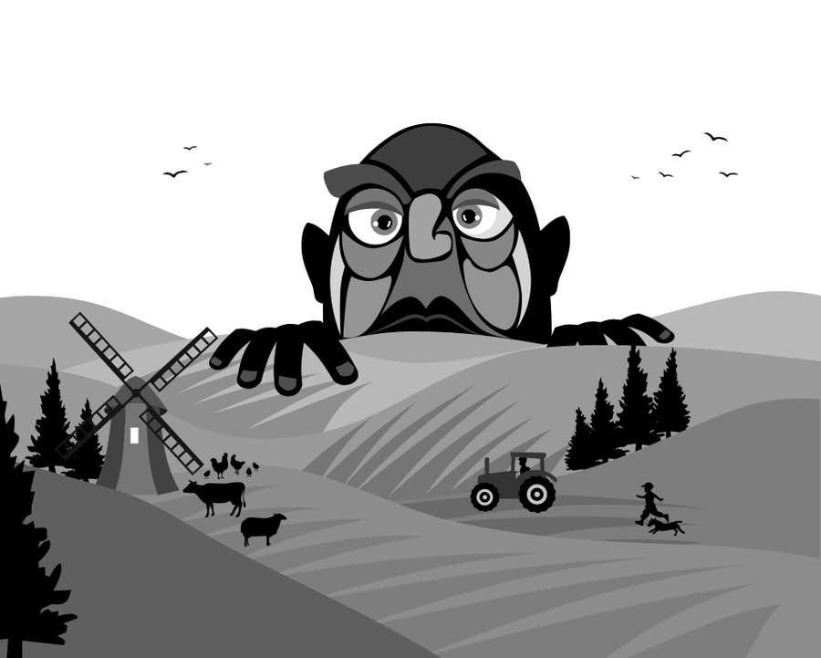Penyertaan Peraduan #17 untuk Illustrate a giant peaking over a hill