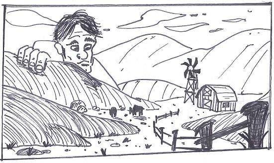 Penyertaan Peraduan #46 untuk Illustrate a giant peaking over a hill