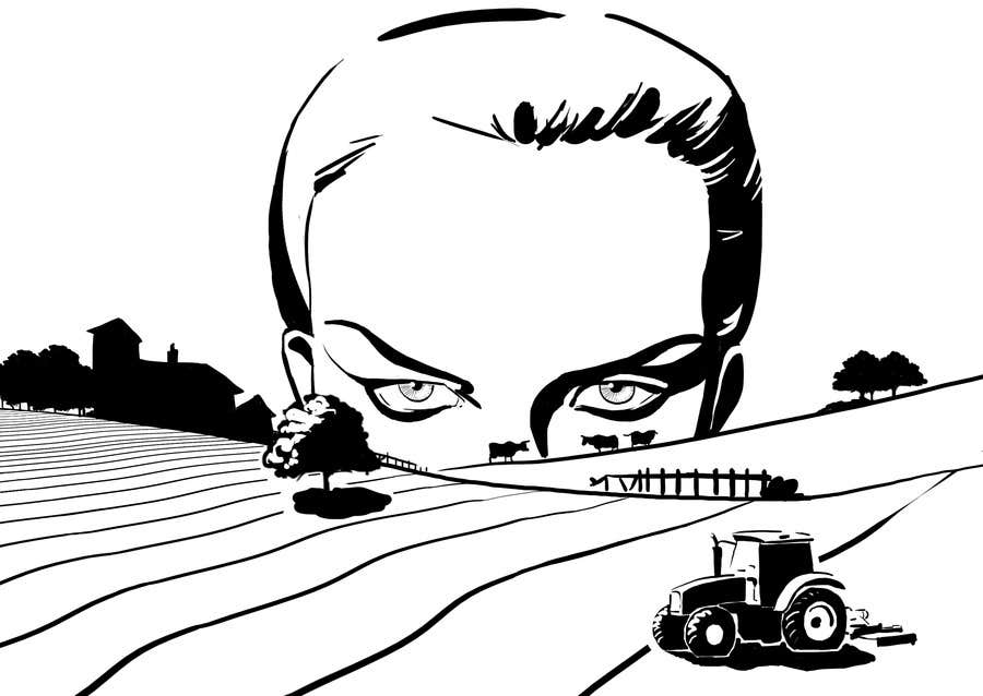 Penyertaan Peraduan #90 untuk Illustrate a giant peaking over a hill