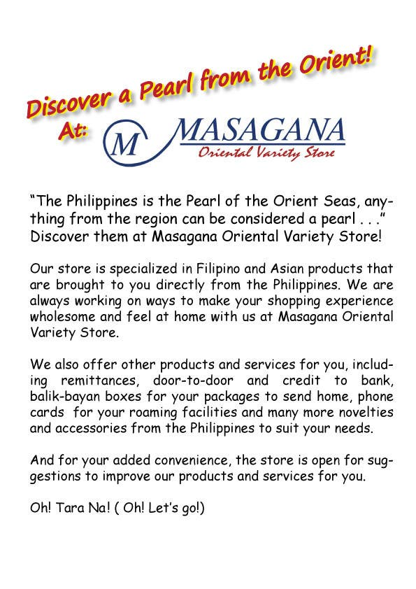 #12 for Write a tag line/slogan and content for a Specialist Philippine Grocery Store by JosephMarinas