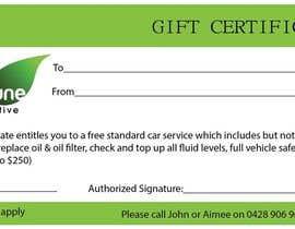 Nro 10 kilpailuun Design a gift certificate designed using supplied logo käyttäjältä ratnakar2014