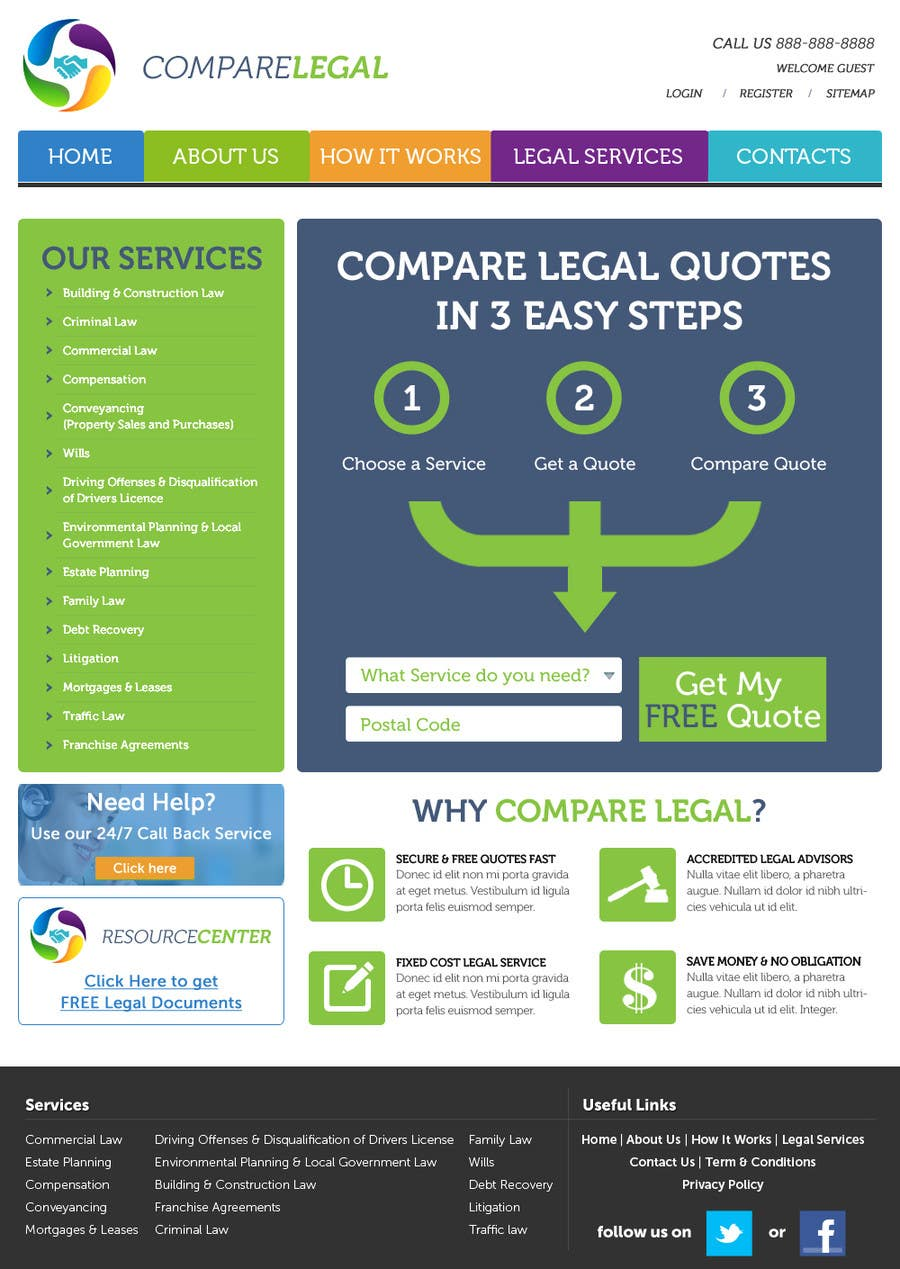 #6 for Home page design plus logo - legal site by JosephNgo