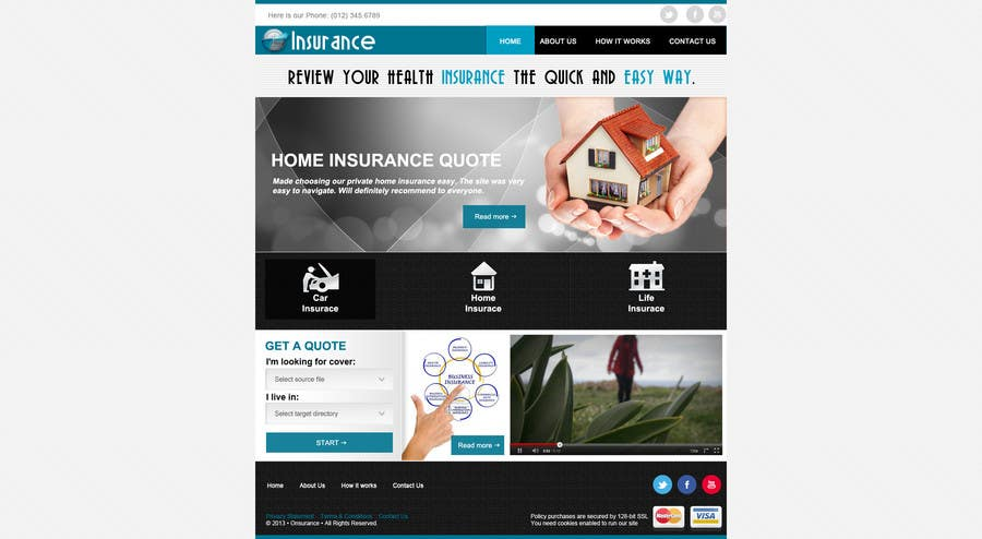 #4 for Home page design plus logo - Insurance site by designBox16