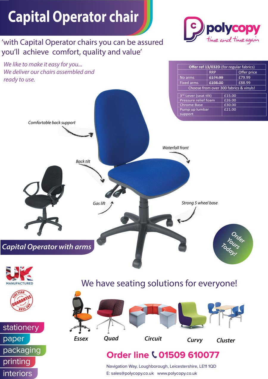 Kilpailutyö #7 kilpailussa Chair flyer A4
