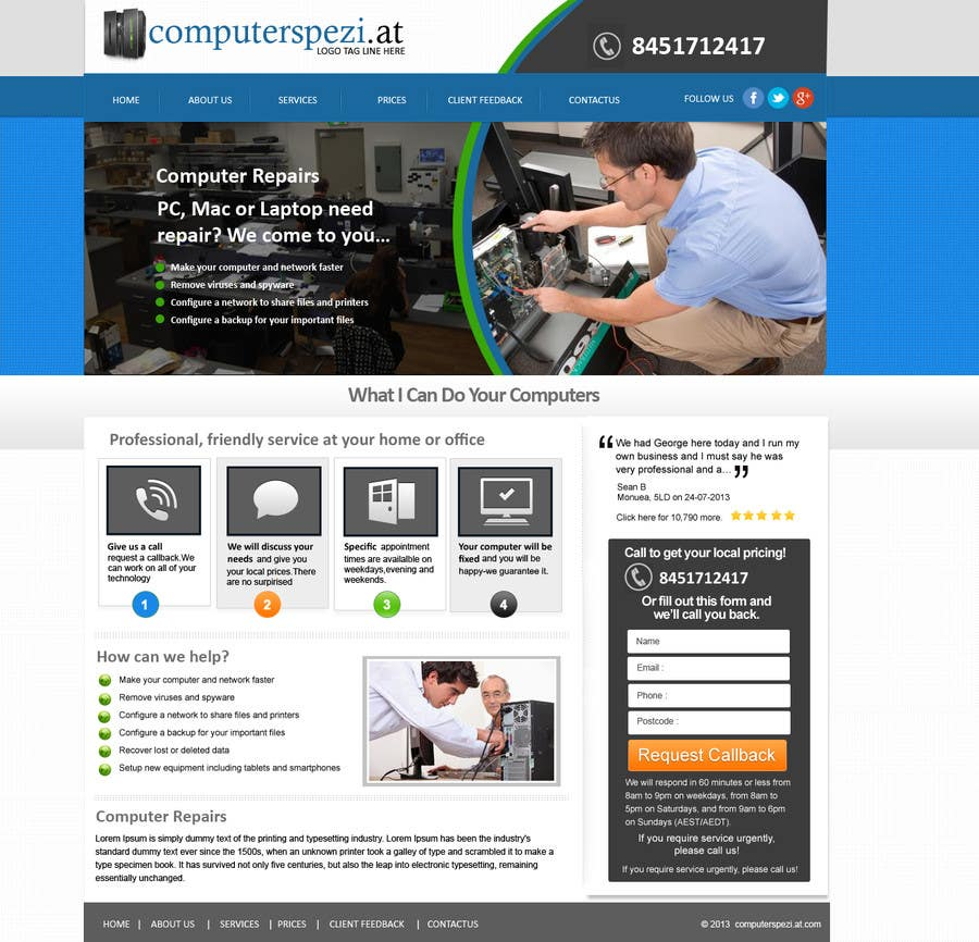 #20 for Design a single Page Website with Logo for a PC repair service by MagicalDesigner