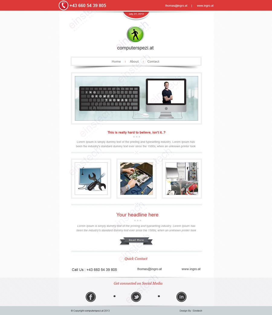 #14 for Design a single Page Website with Logo for a PC repair service by einstech