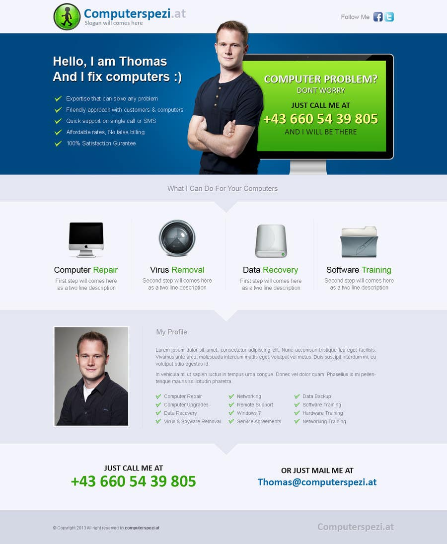 #19 for Design a single Page Website with Logo for a PC repair service by uniqueclick