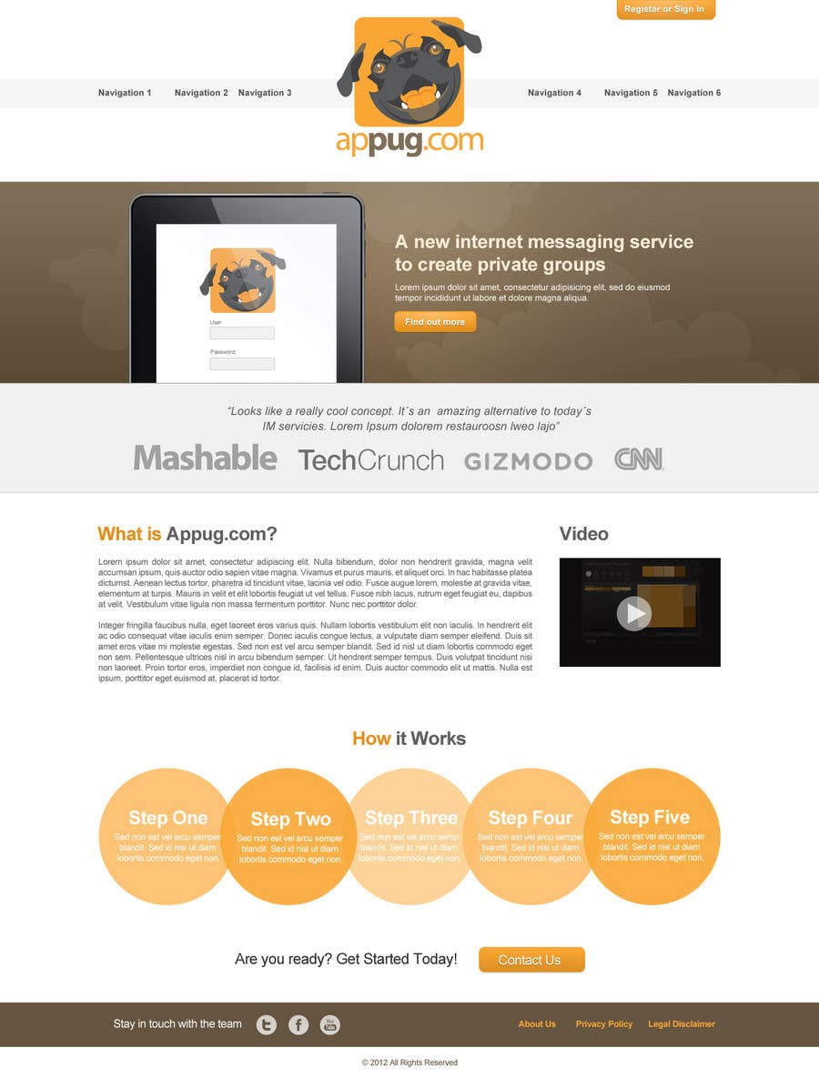 Конкурсная заявка №                                        22                                      для                                         Website Design for Appug.com, a new online messaging service (generic web page).