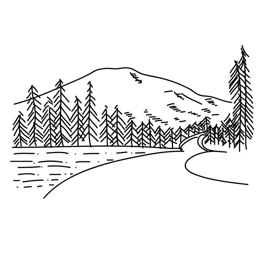 Line Art Mountains : Illustrate a very simple line drawing of mountain
