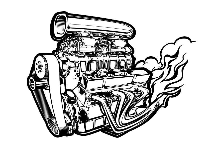 Line Art B Amp W Vector Drawing Of A Supercharged Chevy