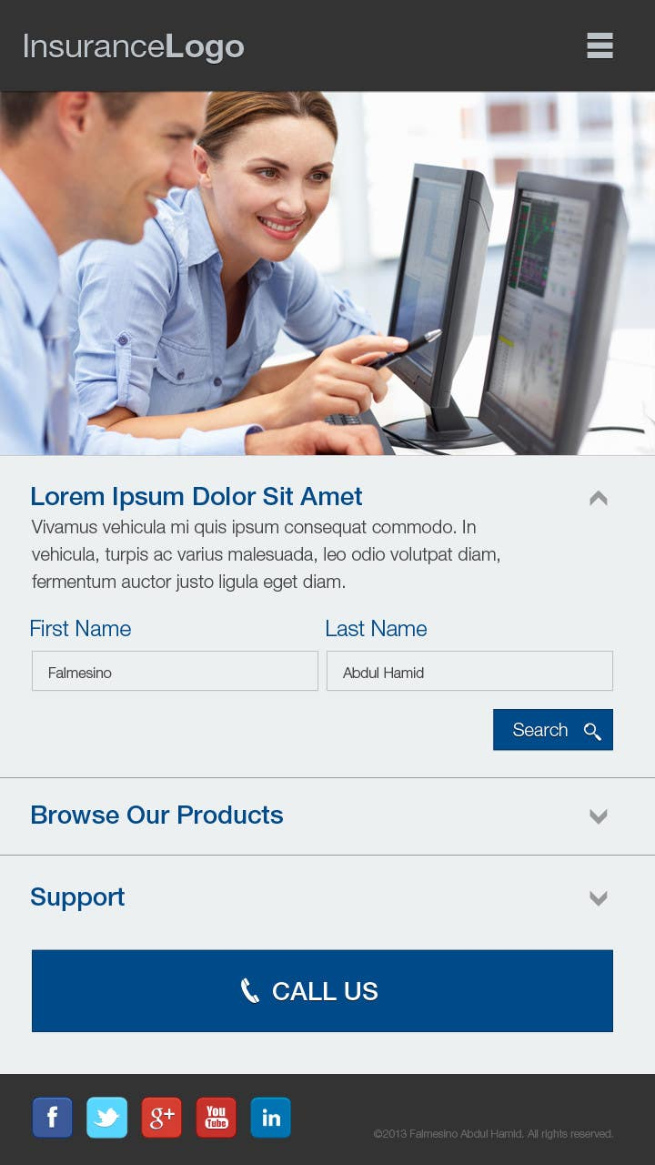 Bài tham dự cuộc thi #                                        4                                      cho                                         Design a Mobile Website Mockup for a multinational insurance company