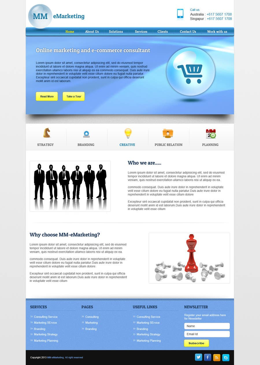 #44 for Design for a Marketing / Consulting website by helixnebula2010