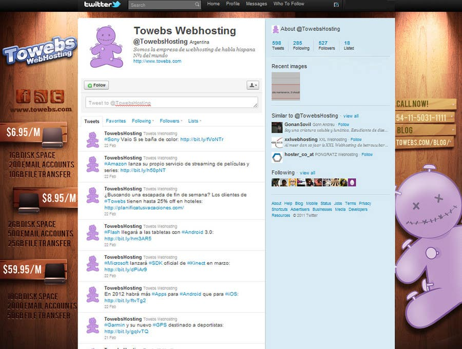 Bài tham dự cuộc thi #30 cho Twitter Background for towebs.com