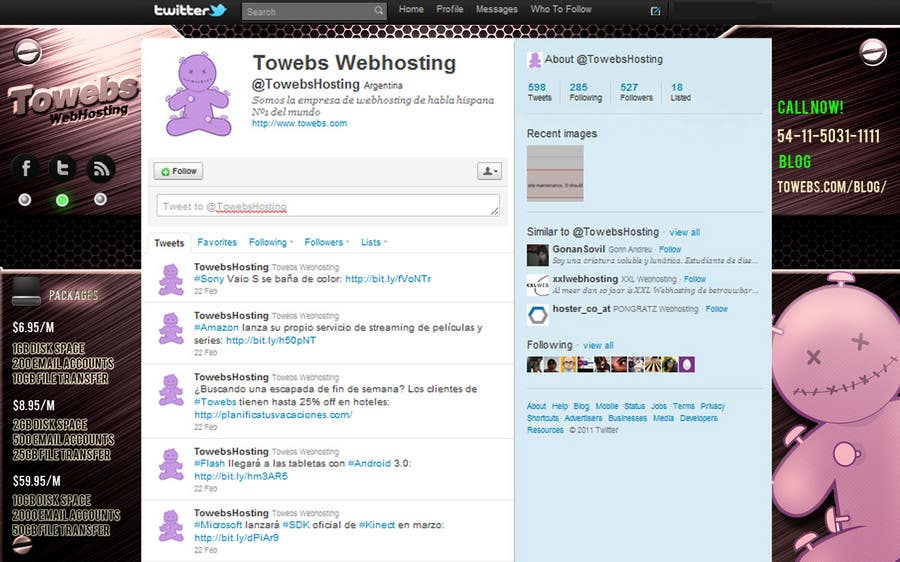 Kilpailutyö #                                        24                                      kilpailussa                                         Twitter Background for towebs.com
