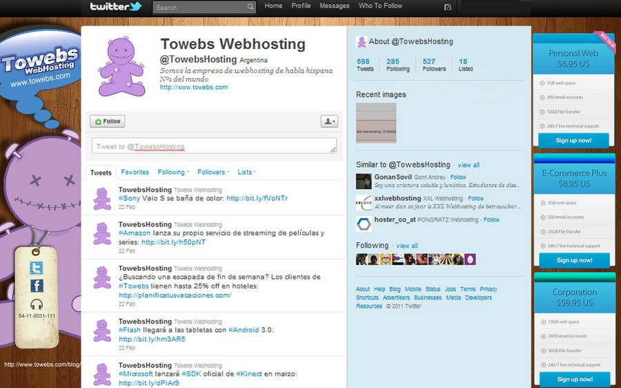 Kilpailutyö #                                        5                                      kilpailussa                                         Twitter Background for towebs.com