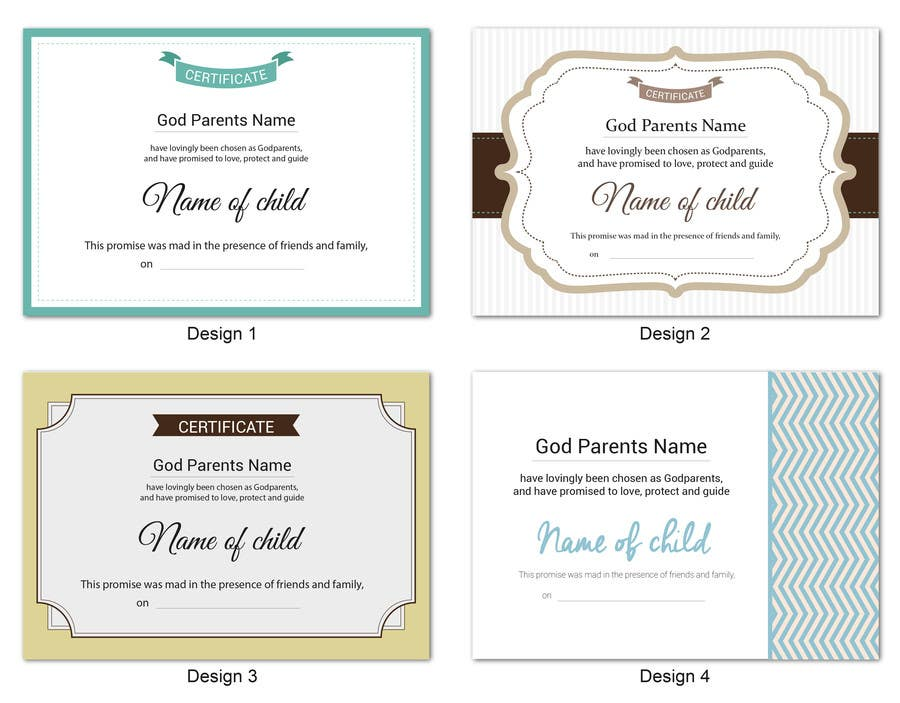 Entry 5 By Lelaku For Design Me A Godparents Certificate 2
