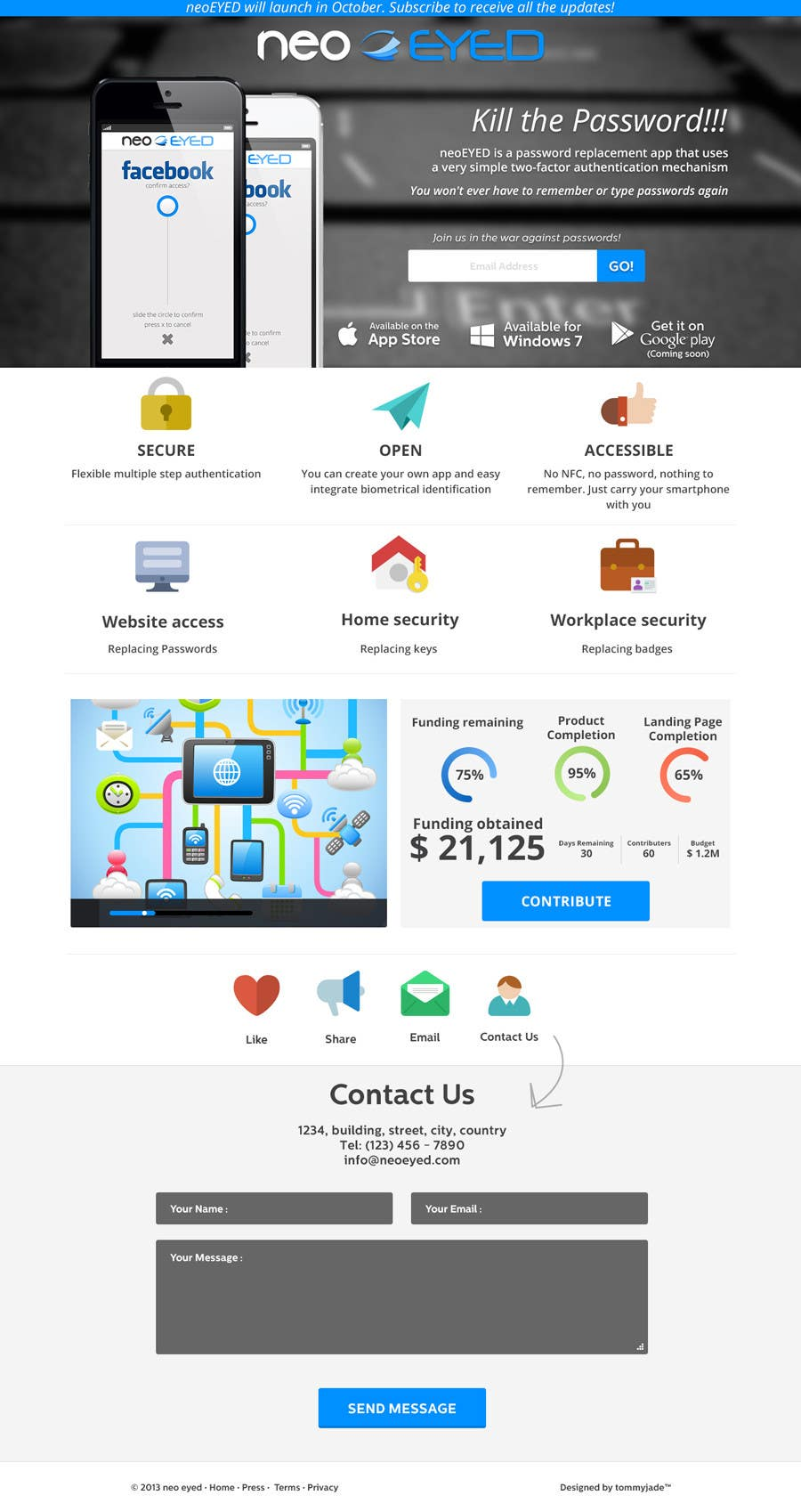 #39 for Create a landing page for neoEYED by tommyjade