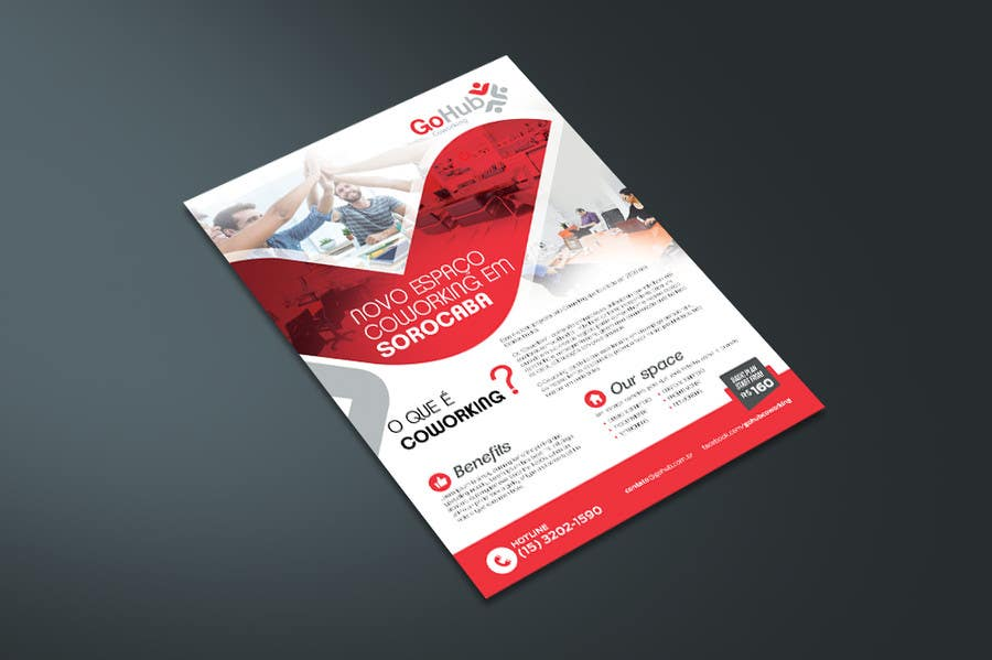Design a flyer and a business card for a coworking space for Flyer and business card holder