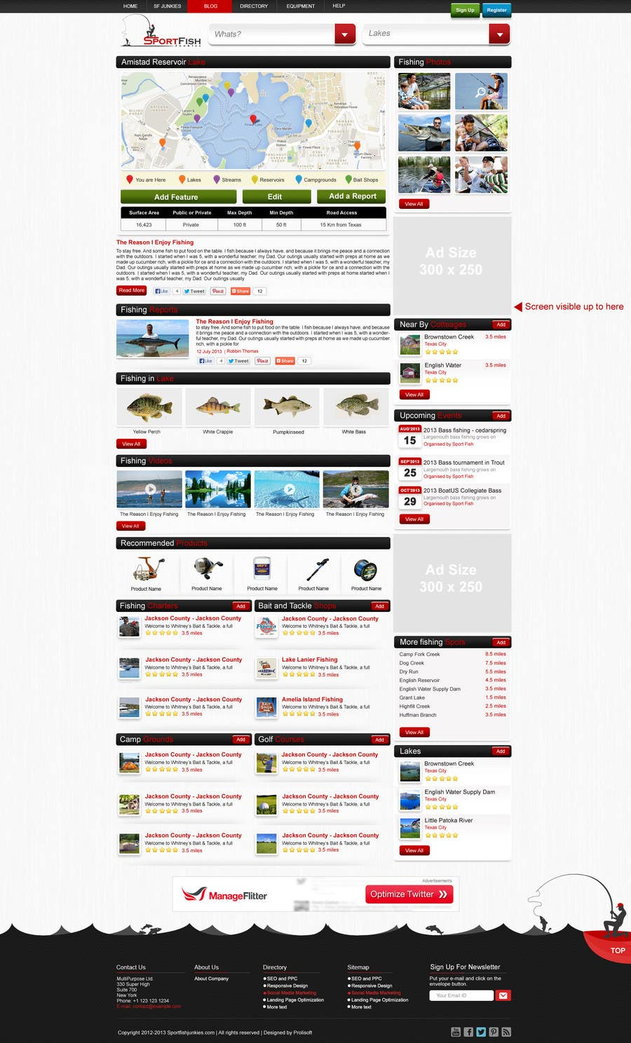 Kilpailutyö #28 kilpailussa Design a Website Mockup for Sport Fish Junkies