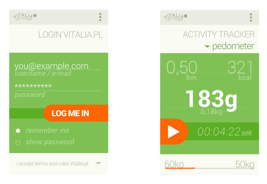 "#87 for Design for mobile app ""Vitalia tracker"" (design only) by codeRaptor32"