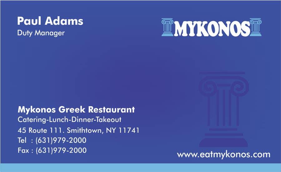 #4 for Design some Business Cards for Mykonos Greek Restaurant by vcvidath