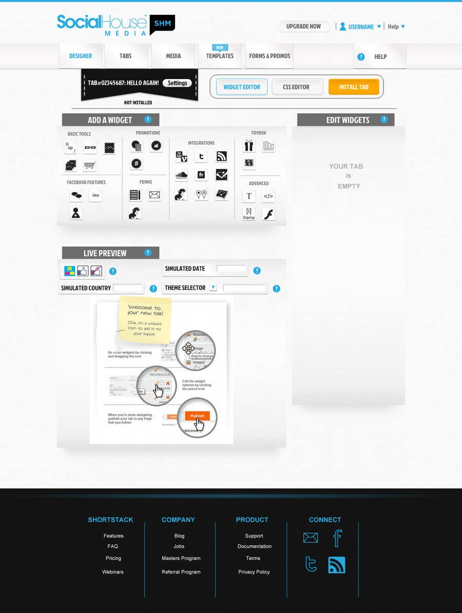 Proposition n°14 du concours Website Design for Social House Media: Widget Page